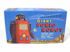 "1960s Japan Tin GIANT SONIC ""TRAIN"" ROBOT REPRO BOX Toytent Gang of Five!!"