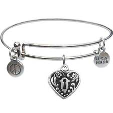 - Usa Made - BbandJt142 Bangle Bracelet and Heart Lock