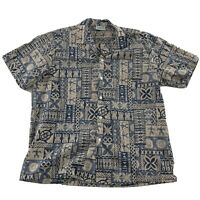 Jade Fashions Hawaiian Aloha Short Sleeve Button Front Shirt Men's XL Beige Blue