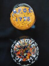 Reduced! 2 American Frit Paperweights, Thinque of Me & B.P.O.E. 1775