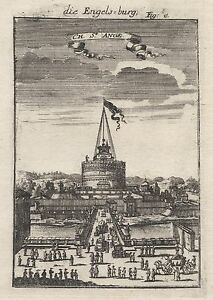1686 Rome Castel Saint Angelo 17th Century Engraving Print Mallet