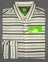 NWT $165 Hugo Boss Gray Striped Shirt LS Mens L Belfiore 50326481 001 Slim Fit