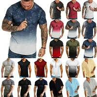Men Short Sleeve T Shirts Fitness Casual Muscle Tops Fashion Travel Baggy Blouse