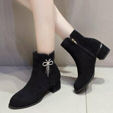 Womens Black Faux Suede Round Toe Rhinestones Ankle Riding Boots Med Heels Shoes
