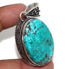 """Turquoise 925 Sterling Silver Plated Vintage Style Pendant 2"""" GW"""