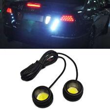 2X 12W Bright Car COB LED Round Headlight DRL Driving Daytime Running Light Lamp