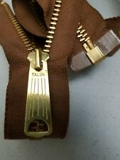 "1-ZIPPER USA Vtg ""TALON BELL LONG-TAB""Jacket/Separating #5Metal BRASS=22""MED.BRN"