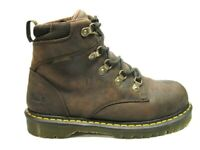 Doc Dr Martens Industrial Steel Toe Holkham Brown Leather Work Boots 9M EUC