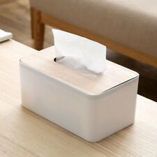 Solid wood lid tissue box paper napkin box cover white and beige
