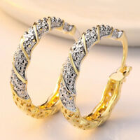 18K Gold Plated White Topaz Big Round Hoop Earrings Womens Party Jewelry Gift
