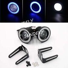 Pair Blue COB 3.5inch GM Projector LED12V Fog Lights Lamps Halo Angel Eyes Rings