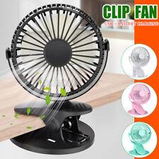 USB Rechargeable Desk Fan Battery Operated Clip On Mini Fan Handheld Car Fan