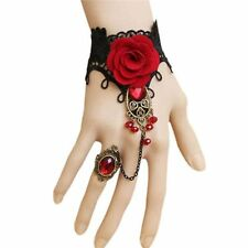 Gothic Lolita Lace Bangle Bracelet Metal Chain Red Rose Crystal Finger Ring