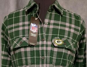 NWT NEW Green Bay Packers flannel women's S Antigua NFL button embroidered logo