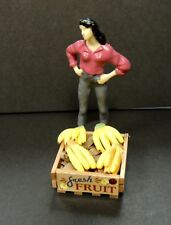 WOOD CRATE OF  FRESH LOOSE 4 BUNCHES of BANANAS DIORAMA MINIATURE