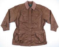 Ralph Lauren LRL Brown Nylon Anorak Field Chore Barn Coat Jacket Windbreaker M