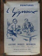 Affiche Exposition L. GIGNOUX Galerie MARCEL BERNHEIM 1959