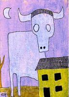 21030953 e9Art ACEO Surrealism Fantasy Bull Steer Outsider Folk Art Painting ATC