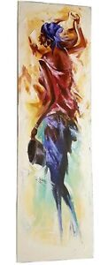 from river side - abstract African hand acrylic painting 100 x 30 cm