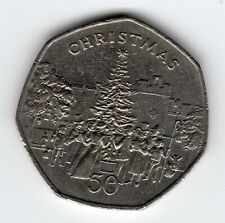 More details for 1982 50p coin iom christmas xmas tree ab isle of man fifty pence iom234
