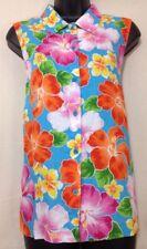 Jones New York Woman's Sleeveless Linen Floral Button Down Blouse - Size 10