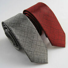 "Lot 2pcs of 2"" Polyester Thin SKINNY Tie Red and Grey SLIM Tie Fashion Necktie"