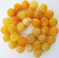 """Round Rough Natural Crack Yellow Agate Loose Beads 14"""" frosting"""