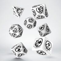 White & black DRAGON dice set by Q-workshop for D&D RPG fantasy