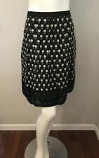 Ann Taylor Petites Black Beige Polka Dot Embroidered Pleated Skirt Size 6P