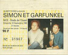 RARE / TICKET BILLET CONCERT - SIMON ET & GARFUNKEL LIVE A NICE ( FRANCE ) 1983