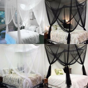 4 Corner Post Bed Canopy Mosquito Net Netting Black Full Queen King Decor 2Color