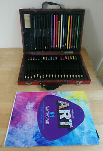 38Pc Professional Sketching Drawing Set Art Pencil in Briefcase + A4 Drawing Pad
