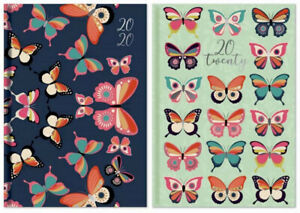 2020 A6 Week To View Diary - Butterfly Design - Jade Or Navy - Free Post