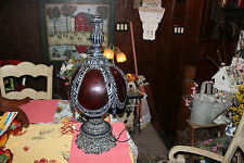 Stunning Medieval Gothic Table Lamp-Ruby Red Glass Shade-Large Lamp-Metal