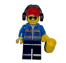 LEGO Train Minifigure Truck Driver Railway Worker With Cup Mug & Headphones NEW