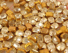 144 vintage clear glass octagons in gold color metal settings 10 x 8mm Czech