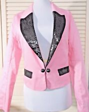 NEW * Ladies * GANGNAM Style JACKET Costume * PINK with BLACK SEQUINS Size 8