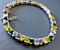 Multi- Gemstone Sterling Silver Fine  Bracelet