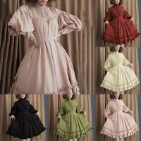 Women Long Sleeve Loose Stand Collar Lantern Sleeve Ball Gown Lolita Mini Dress