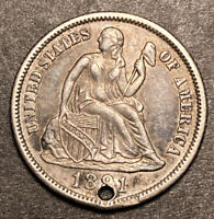 1891 S/S Seated Liberty Dime RPM MED/SM FS-501 F-105 Top 100 AU Details R-4
