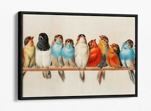 BIRDS ON A PERCH VINTAGE ART -FLOAT EFFECT CANVAS WALL ART PIC PRINT- RED BLUE