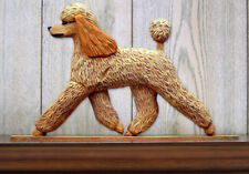 Poodle Dog Figurine Sign Plaque Display Wall Decoration Apricot