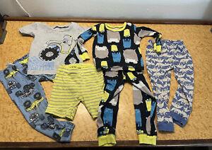 Lot Of Lightweight Winter Pajamas Pjs Size 2t Carters Boys Dino Truck Monster