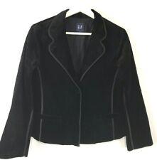 GAP Black Velvet Jacket Blazer Stretch Cotton Party Cocktail Pockets Size 10
