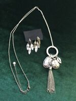 Silver Tone Tassel Necklace With Charms  Leaf Shaped Earrings Leaves Tasseled