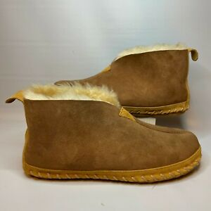 LL Bean Mens 189724 Wicked Good Brown Shearling Lined Boot Slippers Size 9M