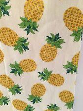 YELLOW PINEAPPLES  KITCHEN TEA TOWEL POMPOM FRINGE TROPICAL SUMMER ALOHA