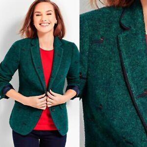 NEW TALBOTS Size 6 Aberdeen Whimsical Wiener Dog Embroidered Wool Blazer Jacket
