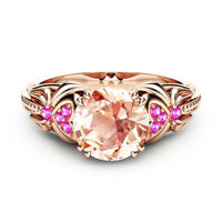 Fashion Rose Gold Filled Round Cut Citrine Stone Women Engagement Ring Size 6-10