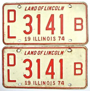 Illinois 1974 Dealer Pair Old License Plate Garage Car Auto Tags B Vintage 1970s